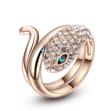 Fashion jewelry Rose gold plated snake ring