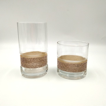 wholesale high ball glass tumbler with diamond decor