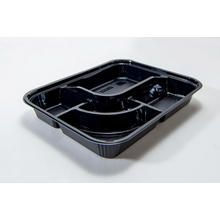 Compartment Disposable Plastic Bento Box With Clear Lid