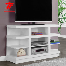 3 Ladders White Corner Modern Wood TV Unit