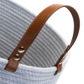 Customized  Leather Foldable Cotton Rope Basket