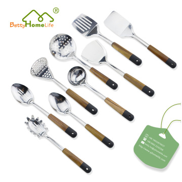 9PCS Stainless Steel Wood Handle Utensils Set