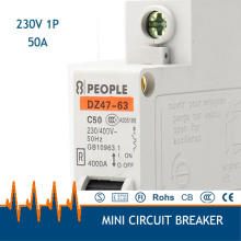 1P 220v-400V 50A dz47-63 Household miniature Circuit Breaker Free Shipping for Standard:IEC61009 GB6829