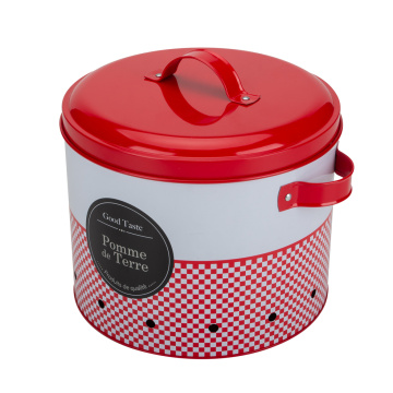 Red Metal Vegetable Onion Storage Bin