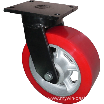 12'' Plate Top Swivel Industrial Caster PU Wheel With Brake