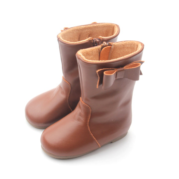 High Top Bowknot Plush Children Winter Boots
