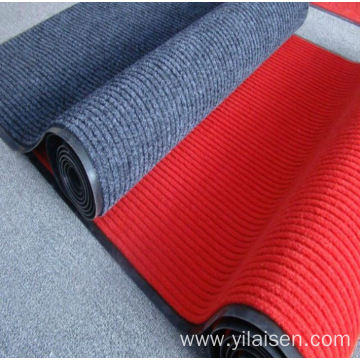 Factory Polyester red ribbed carpet mat