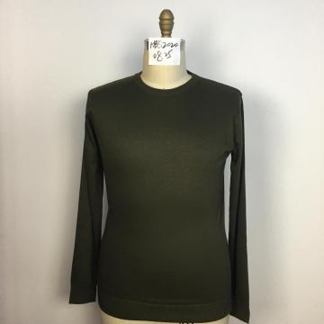 Men's Knitted Dark Green Round Neck Sweater