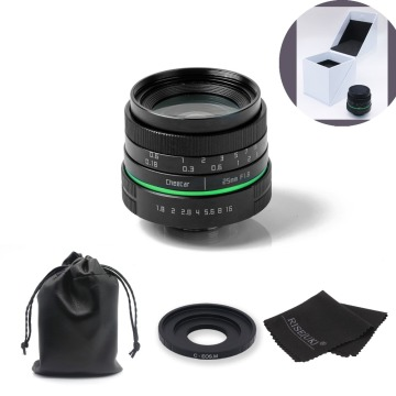 New green circle 25mm CCTV camera lens For Canon EOS M / M2 / M3 with c-eosm adapter ring + gift +bag+ big box