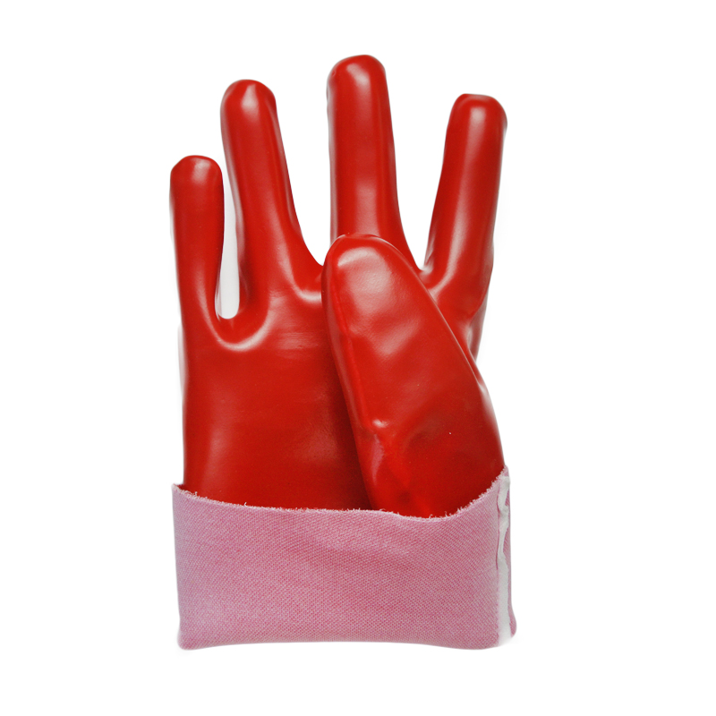 Red PVC coated gloves polyster linning 27cm