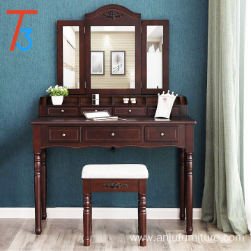 6 Organizers makeup dressing table designs with cushioned stool