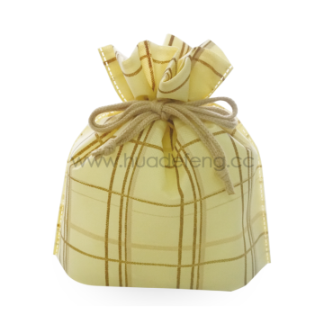Non-woven Yellow Big Checkered Japan Style Drawstring Bag
