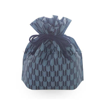 Non-woven Deep Blue Arrow Pattern Drawstring Lunch Bag