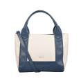 Contrast Color Soft Grain Leather Tote Women Bags