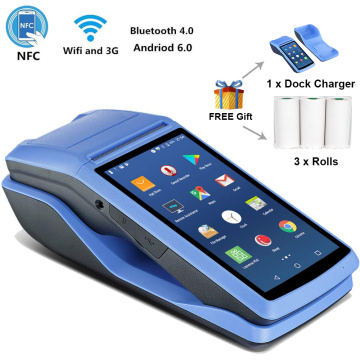 Android 6.0 NFC PDA POS Receipt Bluetooth 58mm Printer PDA Thermal 58mm Scan Barcode by Camera POS Handheld 3G PDA