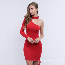 Design Sexy Plain Slim One Shoulder Drawstring Women