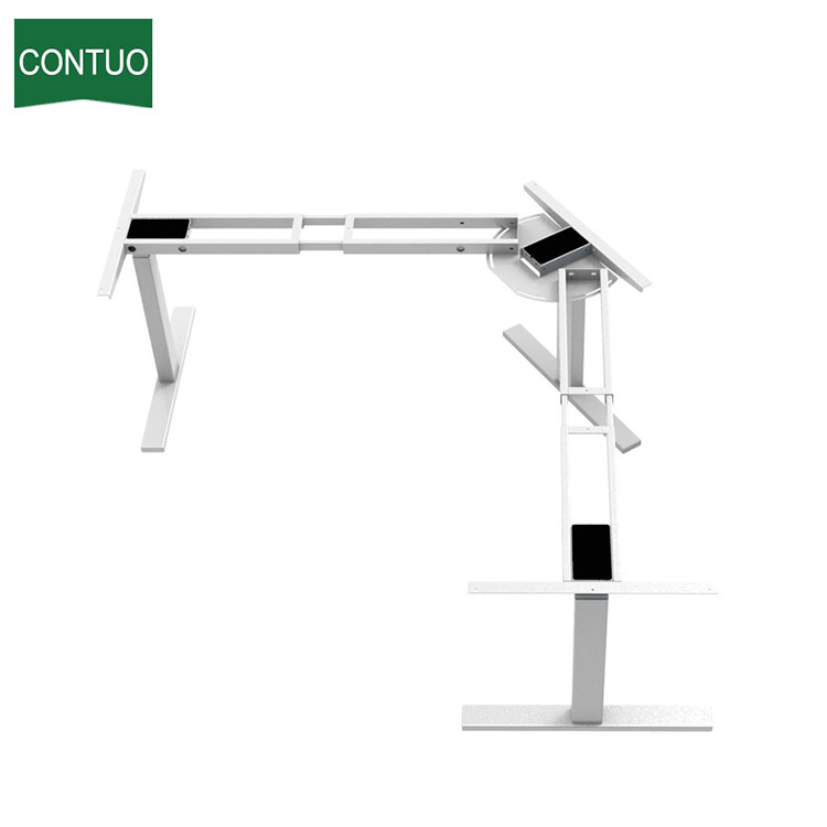 Computer Director L-Shape Uplift Table With Steel Legs