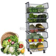 Kitchen Metal Racks & Holders Vegetable Fruit Racks with Wheels Basket Home Floor Multi-layer Kitchen Storage & Organization
