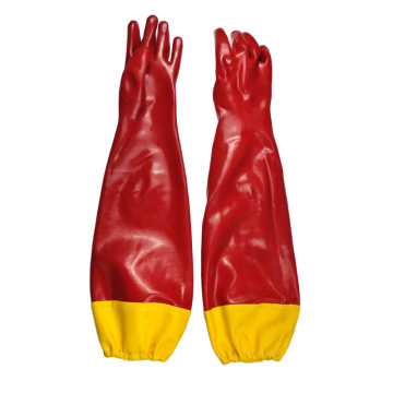 Red PVC Dipped glove reinforced cuff