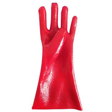 Red Single Dipped. Rough Finish.Gauntlet PVC Glove 35cm