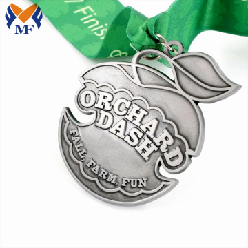 Fruit theme orange classic silver metal medal