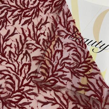 Burgundy Leaves Lace Mesh Sequin Embroidery Fabric