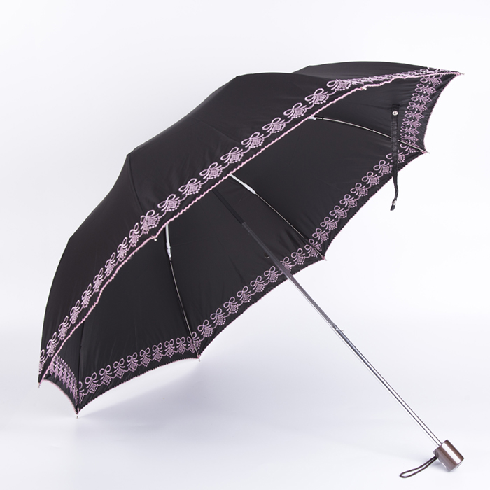 Women Folding Umbrella with embroidery