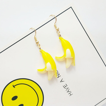 Cute Banana Funny Handmade Earrings Small Fresh Fruit Banana Sweet Drop Earrings Fashion Jewelry for Women and Girls