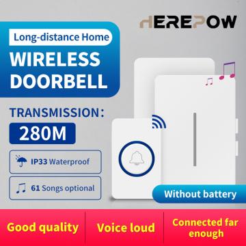 Herepow Wireless Waterproof Doorbell Range 280m US EU UK Plug AC Smart Home Doorbell Bell 1 2 Buttons 1 2 3 Receivers