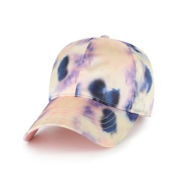 Blank colorful tie dye satin baseball cap