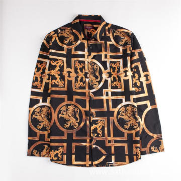 Long Sleeve Vintage Style Digital Print Shirts