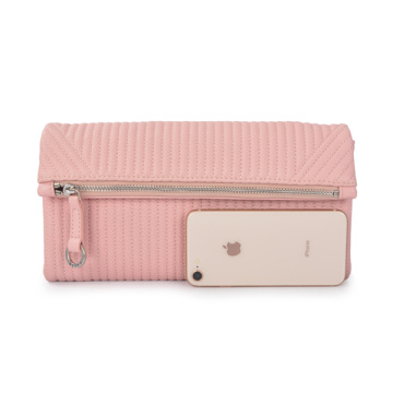 Simple Leather Pouch Clutch Purse Foldover clutch Pink