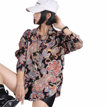 YOMING YM028 Fashion Official Shirt Cashew Nuts Print Blouses Tops Turn-down Collar Long Sleeve Buttons Style Blouse Streetwear