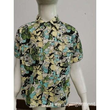 Cotton poplin print casual shirt for youth