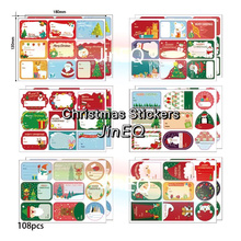 108Pcs/12Sheets Merry Christmas Written Stickers Handmade Cake Packaging Sealing Label Stickers for Baking DIY Gift Stickers