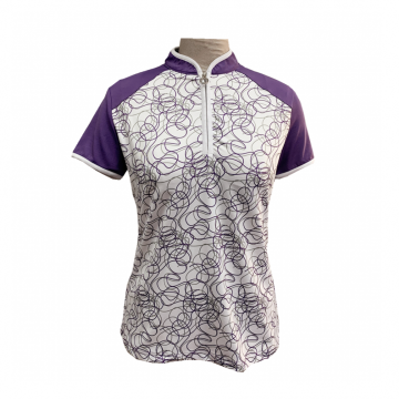 Ladies Knit Digital Print Polo Shirt