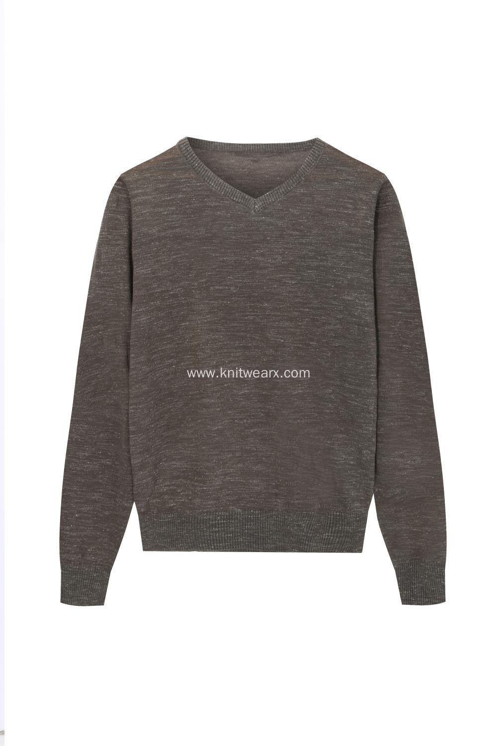 Men's Knitted Ramie/Cotton V-Neck Pullover