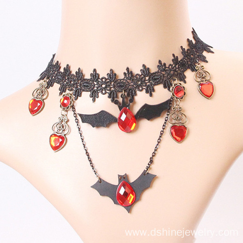 Stylish black lace choker bat Pendant Necklace