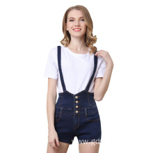 High Waist Suspender Shorts Women Jeans Pants with Braces