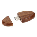 Unidad de memoria flash de madera ovalada natural USB