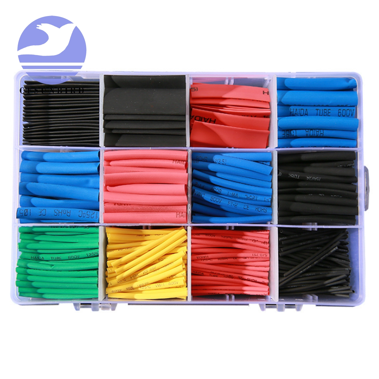 560 Pcs Heat Shrink Tubing 2:1 Electrical Wire Cable Wrap Assortment Electric Insulation Tube Kit With Box