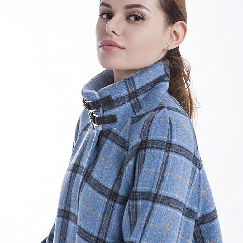 Stylish Plaid Blue Cashmere Winter Coat