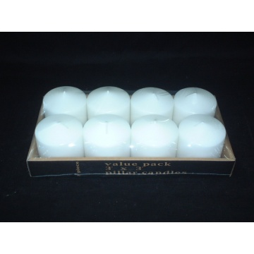 8 Pieces Carton Packed White  Pillar Candle