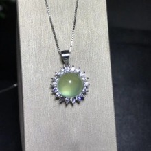 925 Pure silver inlaid with natural vermiculite pendant A necklace.Exquisite jewelry Birthday gift.