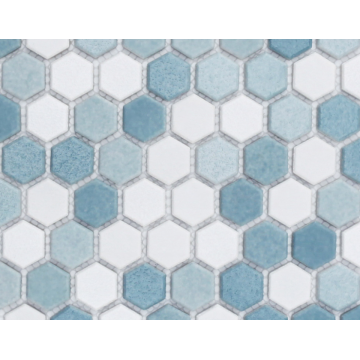 Glass mosaic tile floor decoration