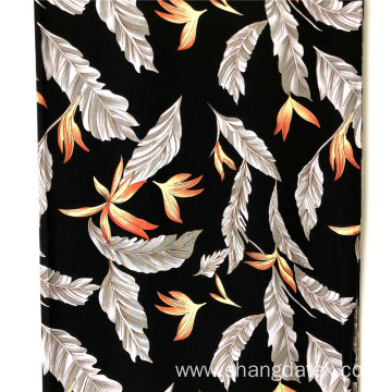 Export Rayon Printed Fabrics Design Feather And Leaves