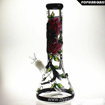 Glass Beaker Bongs with Monstrous Hand Painting Pattern