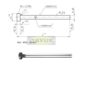 1.2344 nitrided ejector pin cylindrical head (type fiat)