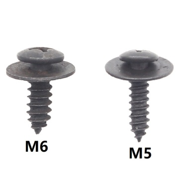 KELIMI 30Pcs Fixed Auto Car Body Fender Screws M5 M6 Metal Rivet Fastener cross self tapping Phillips Screws