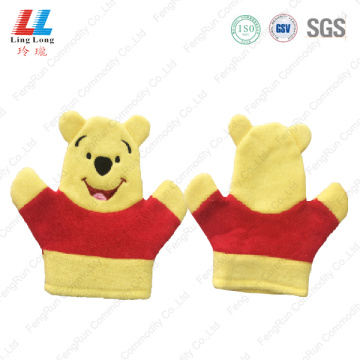 Pooh style animal children bath gloves